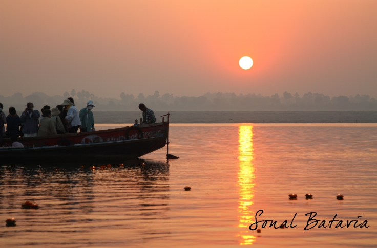 The beauty and splendour of watching the sunrise on the Ganga.