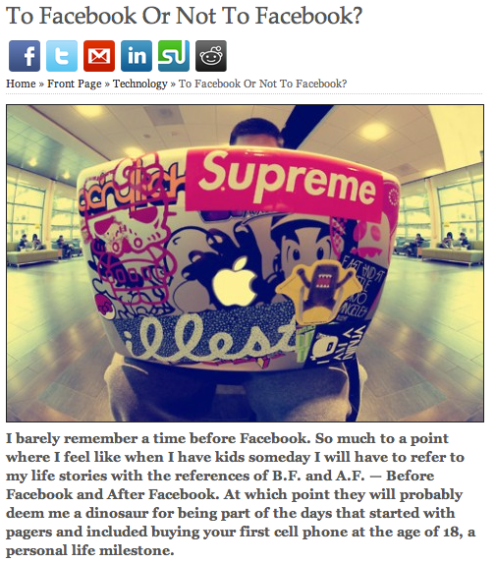 "My first published article in Elite Daily: ""To Facebook or Not to Facebook"""