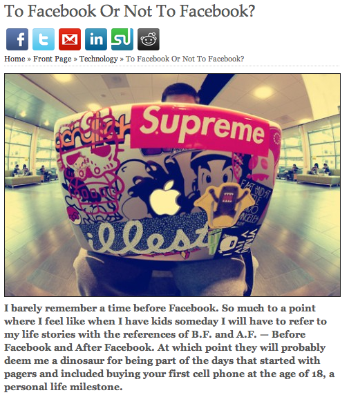 """My first published article in Elite Daily: """"To Facebook or Not to Facebook"""""""