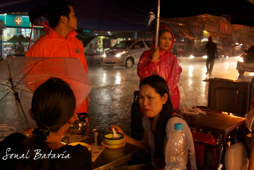 When it rains.. it pours and business carries on in China Town in Bangkok.