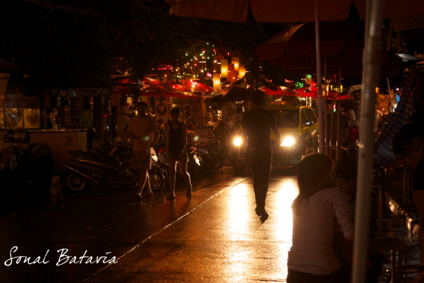 The hustle bustle and bright lights of Khao San Roads night life.