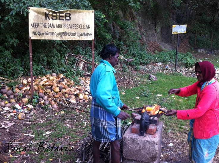 Roasted corn right off the coal while walking around the dam premises in Thekkady.