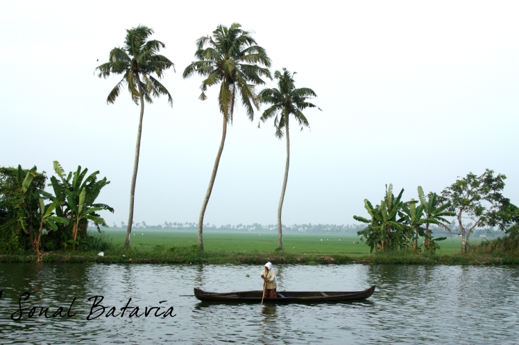 Enjoying the sights sounds and smells of the backwaters.